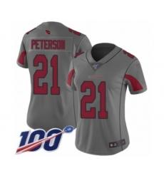 Women's Arizona Cardinals #21 Patrick Peterson Limited Silver Inverted Legend 100th Season Football Jersey