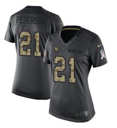 Women's Nike Arizona Cardinals #21 Patrick Peterson Limited Black 2016 Salute to Service NFL Jersey