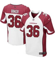Men's Nike Arizona Cardinals #36 Budda Baker Elite White NFL Jersey
