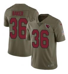 Men's Nike Arizona Cardinals #36 Budda Baker Limited Olive 2017 Salute to Service NFL Jersey