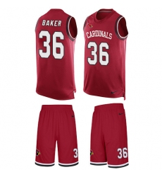 Men's Nike Arizona Cardinals #36 Budda Baker Limited Red Tank Top Suit NFL Jersey