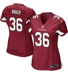 Women's Nike Arizona Cardinals #36 Budda Baker Game Red Team Color NFL Jersey