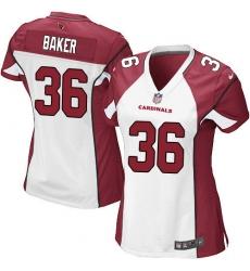 Women's Nike Arizona Cardinals #36 Budda Baker Game White NFL Jersey