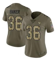 Women's Nike Arizona Cardinals #36 Budda Baker Limited Olive/Camo 2017 Salute to Service NFL Jersey