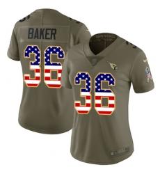 Women's Nike Arizona Cardinals #36 Budda Baker Limited Olive/USA Flag 2017 Salute to Service NFL Jersey