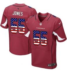 Men's Nike Arizona Cardinals #55 Chandler Jones Elite Red Home USA Flag Fashion NFL Jersey