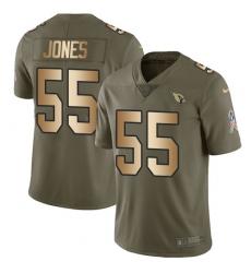 Men's Nike Arizona Cardinals #55 Chandler Jones Limited Olive/Gold 2017 Salute to Service NFL Jersey