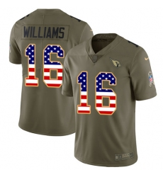 Men's Nike Arizona Cardinals #16 Chad Williams Limited Olive/USA Flag 2017 Salute to Service NFL Jersey