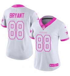 Women's Nike Dallas Cowboys #88 Dez Bryant Limited White/Pink Rush Fashion NFL Jersey