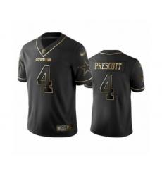 Men's Dallas Cowboys #4 Dak Prescott Black Golden Edition Limited Football Jersey