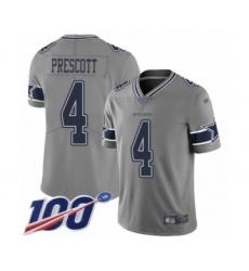 Men's Dallas Cowboys #4 Dak Prescott Limited Gray Inverted Legend 100th Season Football Jersey