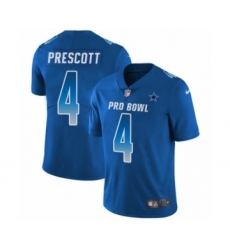 Men's Dallas Cowboys #4 Dak Prescott Limited Royal Blue NFC 2019 Pro Bowl Football Jersey