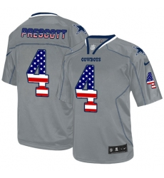 Men's Nike Dallas Cowboys #4 Dak Prescott Elite Grey USA Flag Fashion NFL Jersey