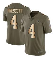 Men's Nike Dallas Cowboys #4 Dak Prescott Limited Olive/Gold 2017 Salute to Service NFL Jersey