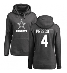 NFL Women's Nike Dallas Cowboys #4 Dak Prescott Ash One Color Pullover Hoodie