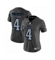 Women's Dallas Cowboys #4 Dak Prescott Gray Static Fashion Limited Football Jersey