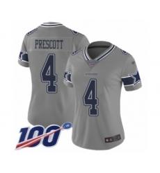 Women's Dallas Cowboys #4 Dak Prescott Limited Gray Inverted Legend 100th Season Football Jersey