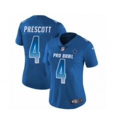 Women's Dallas Cowboys #4 Dak Prescott Limited Royal Blue NFC 2019 Pro Bowl Football Jersey