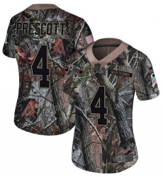 Women's Nike Dallas Cowboys #4 Dak Prescott Camo Rush Realtree Limited NFL Jersey