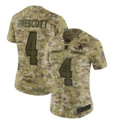 Women's Nike Dallas Cowboys #4 Dak Prescott Limited Camo 2018 Salute to Service NFL Jersey