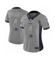 Women's Nike Dallas Cowboys #4 Dak Prescott Limited Gray Rush Drift Fashion NFL Jersey
