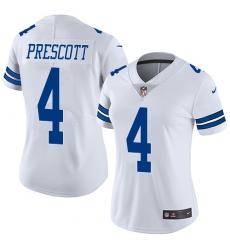 Women's Nike Dallas Cowboys #4 Dak Prescott White Vapor Untouchable Limited Player NFL Jersey