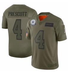 Youth Dallas Cowboys #4 Dak Prescott Limited Camo 2019 Salute to Service Football Jersey