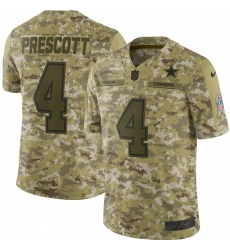 Youth Nike Dallas Cowboys #4 Dak Prescott Limited Camo 2018 Salute to Service NFL Jersey
