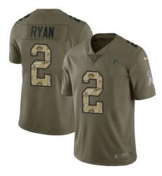 Youth Nike Atlanta Falcons #2 Matt Ryan Limited Olive/Camo 2017 Salute to Service NFL Jersey