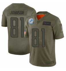 Women's Detroit Lions #81 Calvin Johnson Limited Camo 2019 Salute to Service Football Jersey