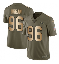 Youth Nike Baltimore Ravens #96 Brent Urban Limited Olive/Gold Salute to Service NFL Jersey