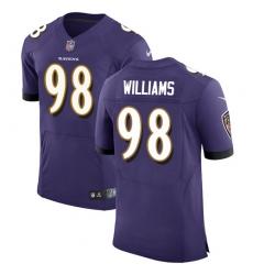 Men's Nike Baltimore Ravens #98 Brandon Williams Elite Purple Team Color NFL Jersey