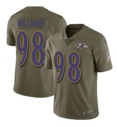 Men's Nike Baltimore Ravens #98 Brandon Williams Limited Olive 2017 Salute to Service NFL Jersey