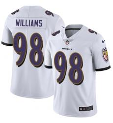 Men's Nike Baltimore Ravens #98 Brandon Williams White Vapor Untouchable Limited Player NFL Jersey