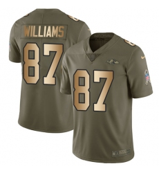 Men's Nike Baltimore Ravens #87 Maxx Williams Limited Olive/Gold Salute to Service NFL Jersey