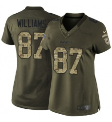 Women's Nike Baltimore Ravens #87 Maxx Williams Limited Olive 2017 Salute to Service NFL Jersey