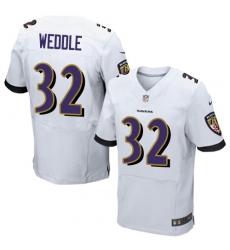 Men's Nike Baltimore Ravens #32 Eric Weddle Elite White NFL Jersey
