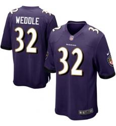 Men's Nike Baltimore Ravens #32 Eric Weddle Game Purple Team Color NFL Jersey