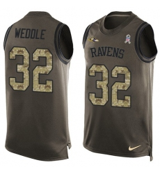 Men's Nike Baltimore Ravens #32 Eric Weddle Limited Green Salute to Service Tank Top NFL Jersey