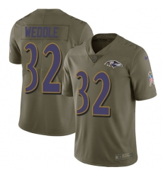 Men's Nike Baltimore Ravens #32 Eric Weddle Limited Olive 2017 Salute to Service NFL Jersey