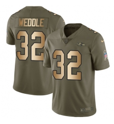 Men's Nike Baltimore Ravens #32 Eric Weddle Limited Olive/Gold Salute to Service NFL Jersey