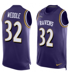 Men's Nike Baltimore Ravens #32 Eric Weddle Limited Purple Player Name & Number Tank Top NFL Jersey