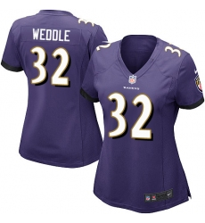 Women's Nike Baltimore Ravens #32 Eric Weddle Game Purple Team Color NFL Jersey