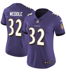Women's Nike Baltimore Ravens #32 Eric Weddle Purple Team Color Vapor Untouchable Limited Player NFL Jersey