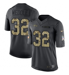 Youth Nike Baltimore Ravens #32 Eric Weddle Limited Black 2016 Salute to Service NFL Jersey