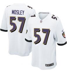 Men's Nike Baltimore Ravens #57 C.J. Mosley Game White NFL Jersey