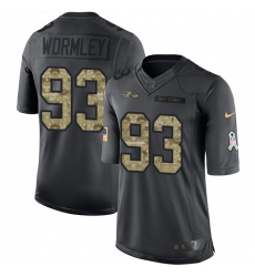 Youth Nike Baltimore Ravens #93 Chris Wormley Limited Black 2016 Salute to Service NFL Jersey