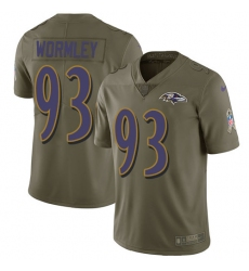 Youth Nike Baltimore Ravens #93 Chris Wormley Limited Olive 2017 Salute to Service NFL Jersey
