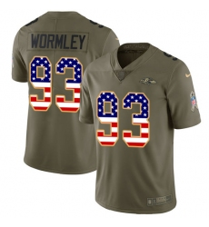 Youth Nike Baltimore Ravens #93 Chris Wormley Limited Olive/USA Flag Salute to Service NFL Jersey