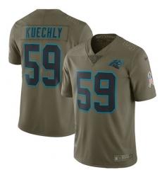 Men's Nike Carolina Panthers #59 Luke Kuechly Limited Olive 2017 Salute to Service NFL Jersey